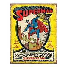 Superman No1 10 Cent Cover DC Comic Superhero Retro Distressed Metal Tin Sign