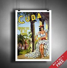 A3 grandi Cuba girl poster retrò vintage viaggio Wall Art Home Decor PICTURE
