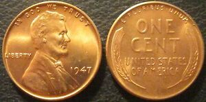 1947-P RED Gem Brilliant Uncirculated Lincoln Cent Essentially Eye Clean