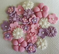 PINK LILAC WHITE FLOWERS Edible Cake decoration Wedding birthday Baby shower