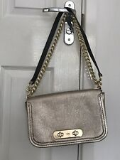 Coach Pale Gold Handbag With Cross Body/ Shoulder Chain Strap Pebbled Leather