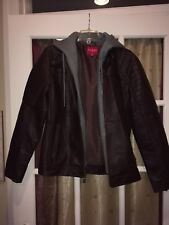 Guess Moto Faux Leather Pleather Jacket W/ Removable Hoodie Men's Medium