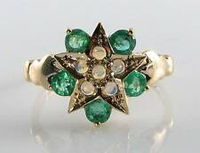 CLASS 9CT 9K GOLD COLOMBIAN EMERALD & OPAL STAR MOON EARTH ART DECO INS RING