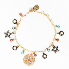 NEW ANNE KOPLIK NAUTICAL SEA LIFE CHARM BRACELET SWAROVSKI CRYSTALS