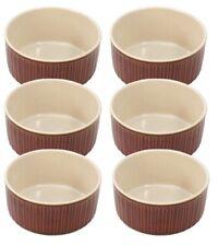 Set Of 6 Farmhouse Ramekins Souffle Dishes 9.5cm x 5cm Porcelain Microwave Safe