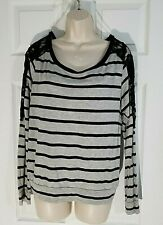 NWT! NEW GRAY/BLACK STRIPED LACE LONG SLEEVE TOP SIZE L