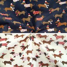 Polycotton Fabric Festive Christmas Xmas Dressed Dogs Dachshund Puppies