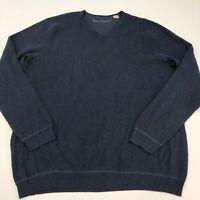 Tommy Bahama Sweater Mens 2XT XXT Navy Blue V Neck 100% Cotton Knit Pullover