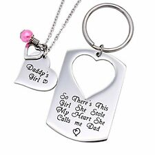 Father Daughter Necklace and Keyring Chain Daddy's Girl Dad O.RIYA JEWELRY Heart