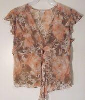 Apt. 9 Women's Shirt Top Size Petite XL Pink Floral Sheer Cap Sleeve V-Neckline