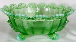 Fruit Bowl - 3 Footed Klondyke Pattern - Green Opalescent Glass - Mosser USA