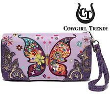 Colorful Butterfly Western Clutch Purse Fashion Women Wristlets Wallet Purple