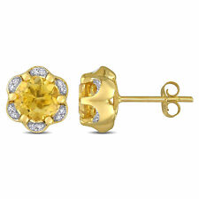Amour 14k Yellow Gold Citrine and Diamond Accent Flower Stud Earrings