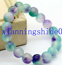 New Natural 10mm purple green Jade Gemstone Round Beads Stretchy Bracelet 7.5''