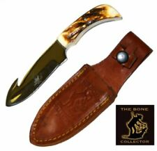 Stainless Steel Bone Collector Handle Hunting Knife w/ Sturdy Sheath 7.25