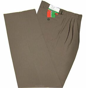 New Men's Dress Pants Slacks Formal Work Uniform Prom Wedding Pleated Taupe
