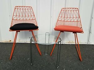 Lucy Side Chair Pair Bend Goods Mid Century Modern Knoll Style Iron Wire Orange
