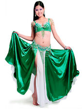 C801 Belly Dance Costume Outfit Set Bra Top Belt Hip Scarf Carnival Indian 2PCS