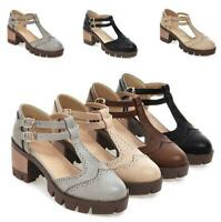 New Women Double Buckle T-Strap Wing Tips Block Heels Brogue Preppy Sandals Shoe