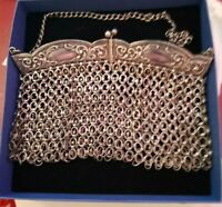 vintage Silver Plated Chain mail evening bag 1950s larger links ....LIMITED TIME
