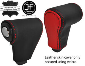 BLACK & RED AUTOMATIC AUTO SHIFT KNOB REAL LEATHER COVER FOR HUMMER H3 05-11