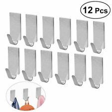 12 Stainless Steel Mini Self Adhesive Hooks Sticky Wall Door Hook Robe Tea Towel