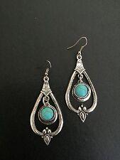 Earrings Silver Turquoise Hippie Bohemian Ethnic Boho Tribal Bohemian A1109