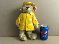 Plush Bear Gordon Yellow Rain Coat & Hat  1993 Attic Treasures 14""