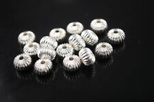 20pcs10mm Rondelle Metal Alloy Big Hole Finding Loose Spacer Beads Charm Silver