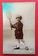 CPSM. 1922. Enfant. Tennis. Raquette.