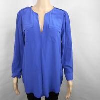 Joie Y-Neck Blouse Shirt 100% Silk Long Sleeve Blue Career Tunic Size M Medium