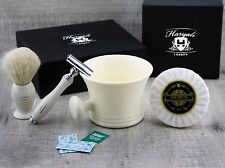4 Pieces Men's Shaving Set With White Hair Brush & De Safety Razor, Mug & Soap.