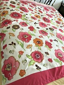 """Lenox Shower Curtain """"Floral Fusion"""" Pinks Oranges White Perfect"""