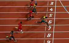 "023 Usain Bolt - 100 m Running Jamaica Game Champion Olympic 38""x24"" Poster"