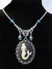 Mermaid Siren of the Sea Oxidized Finish Aqua Drop Beads Cameo Necklace