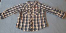 H & T Lovely Boys Blue & White Checked Shirt, Size 2