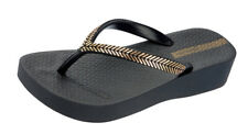 Ipanema Laurel Womens Beach Flip Flops Wedge Sandals Thick-Sole Black