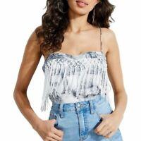 GUESS Women's Printed Satin Fringe-trim Cami Tank Shirt Top TEDO