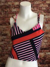 Express Blue Pink Orange Striped Crop Top Blouse Shirt Size XS