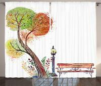 Park Bench Curtains 2 Panel Set Decoration 5 Sizes Window Drapes Ambesonne