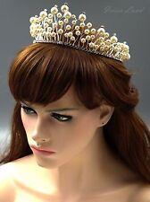 Pearl Clear Crystal Rhinestone Tiara Crown Bridal Wedding Party Pageant 9515 New