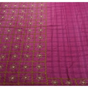 Sanskriti Vintage Pink Sarees Pure Silk Hand Beaded Craft Fabric Premium Sari