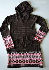 Girls Sz L 10y GAP Kids Brown Pink Fair Isle Hooded Sweater Dress