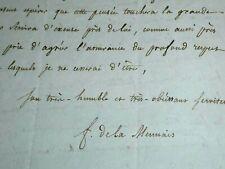 ABBE DE LA MENNAIS BELLE LETTRE SIGNEE AU CARDINAL THOMAS WELD SUR LA FOI 1831