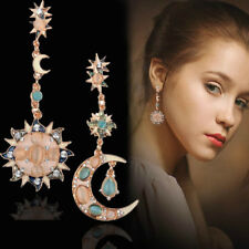 Elegant Crystal Sun and Moon Drop Dangle Long Earrings Women Pendant Ear Stud