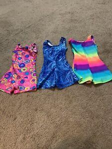 Lot Of 3 Motionwear Toddler XS 3-4  Multi Color Gymnastics Leotards