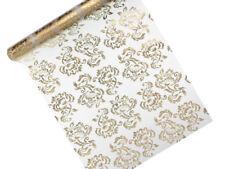 Organza Stoff Tischband Tischläufer 0,36x 9m weiß Gold silber Hochzeit Taufe