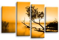 Floral Landscape Wall Art Orange Grey Brown Sunset Seascape Canvas Split Picture