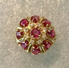 1986 Franklin Mint Rubies Of 9 Heavens Ring 14K Gold Rubies Diamonds Size 7 3/4