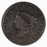Raw 1829 Coronet Head 1C N-3 Copper Large Cent Coin
